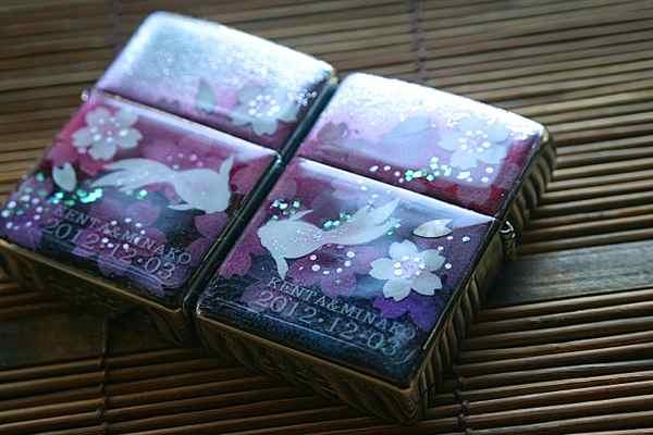 【名入れ】和柄ペアzippo「野」匠の技!桜色限定ペアジッポ!職人の手作り!オリジナル和風ペアライター!ギフト&プレゼント&自分のご褒美!