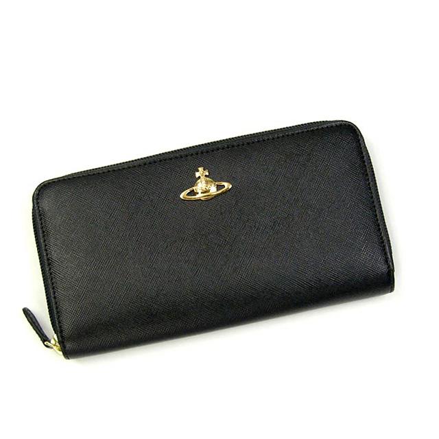b9f702eef9a9 Vivienne Westwood( Vivien waist Wood) wallet round long wallet round  fastener VWW 5,140V SAFFIANO RLW BK NERO fs3gm