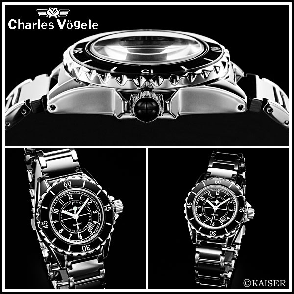 Charles-Holger /Charles Vogele / analog quartz movement / watch list watch list ( watch ) / 10 pressure waterproof / made in Japan quartz movement / women's / ladies / ceramic black x stainless steel Silver x-snow white /CV-7844-3 fs2gm