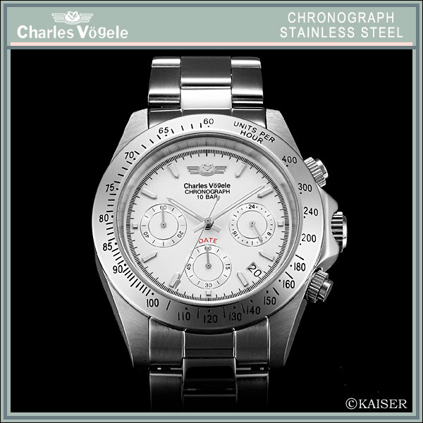 Charles Hagel Charles-Holger /Charles Vogele / chronograph / analog quartz movement / watch list watch (-) wrist watch / 10-year battery / 10 ATM water resistant / stainless steel / Platinum White x stainless steel and silver /CV-7873-2 fs2gm