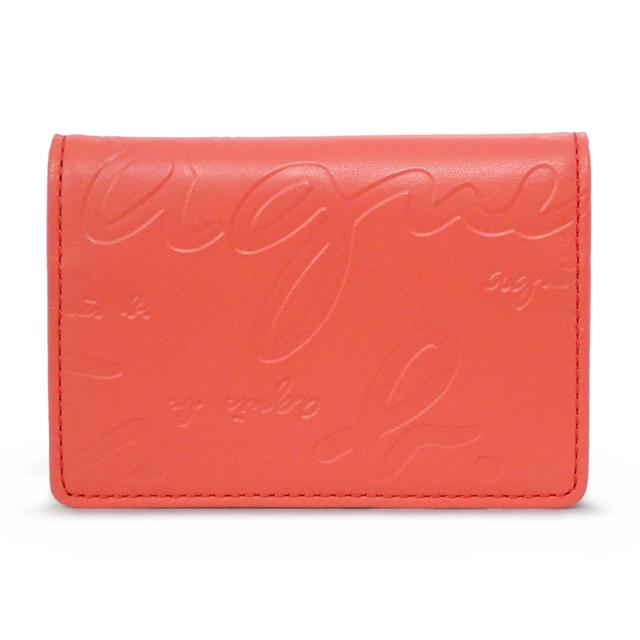 アニエスベー agnes b. カードケース パスケース 定期入れ 名刺入れ ロゴ 型押し レッド RED レディース agnb 070825 mono rd