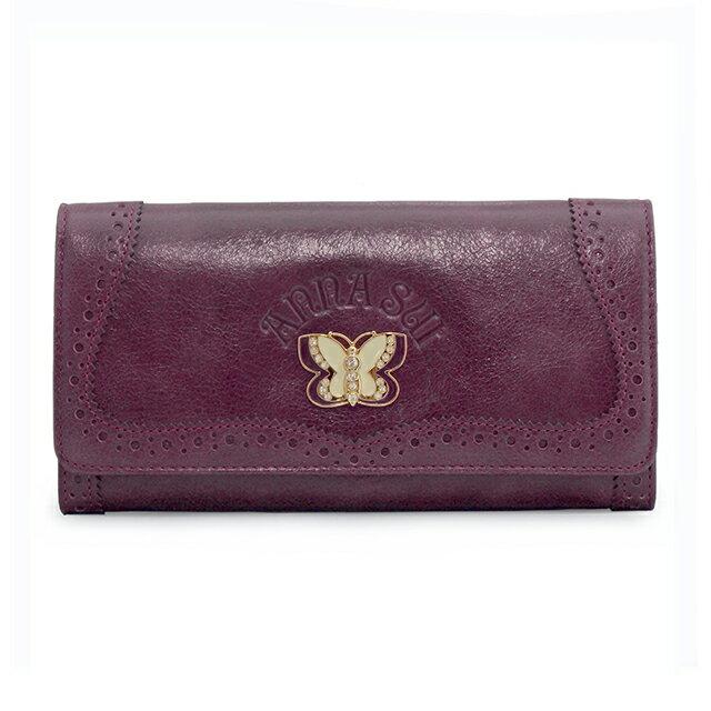 アナスイ ANNA SUI フラップ式 長財布 パープル 紫 Purple かぶせ 小銭入れ付き バタフライ ラインストーン エンブレム 牛革 レディース 307031 90