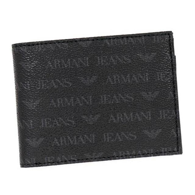 アルマーニ ジーンズ ARMANI JEANS 二つ折り財布 メンズ 革 アルマーニジーンズ 財布 二つ折り 黒 ブラック ブランド おしゃれ 新作 正規 新品 誕生日 クリスマス バレンタイン プレゼント 男性