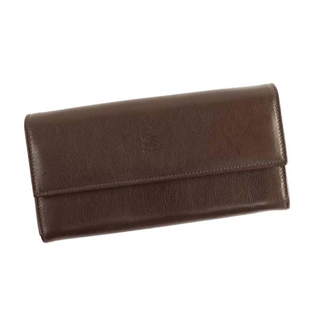イルビゾンテ IL BISONTE 財布 メンズ ロングウォレット C0918 シンプル レザーフラップ 長財布 本革 レディース 455 ダークブラウン ブランド 新品 未使用