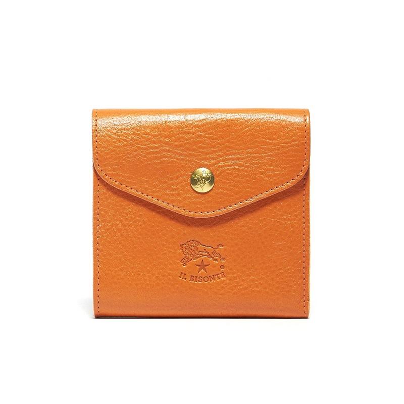 イルビゾンテ IL BISONTE 二つ折り財布 C0424 166 ORANGE 本革 オレンジ コインケース メンズ 男性 レディース 女性 プレゼント ギフト 新生活 贈り物 新品