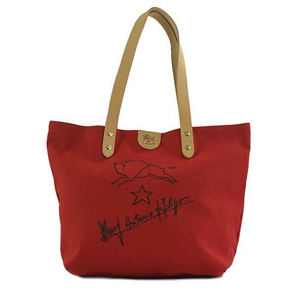 イルビゾンテ IL BISONTE トートバッグ L1144 021 RED コットンキャンバス レッド 赤 ショルダーバッグ メンズ 男性 レディース 女性 プレゼント ギフト 新生活 贈り物 新品