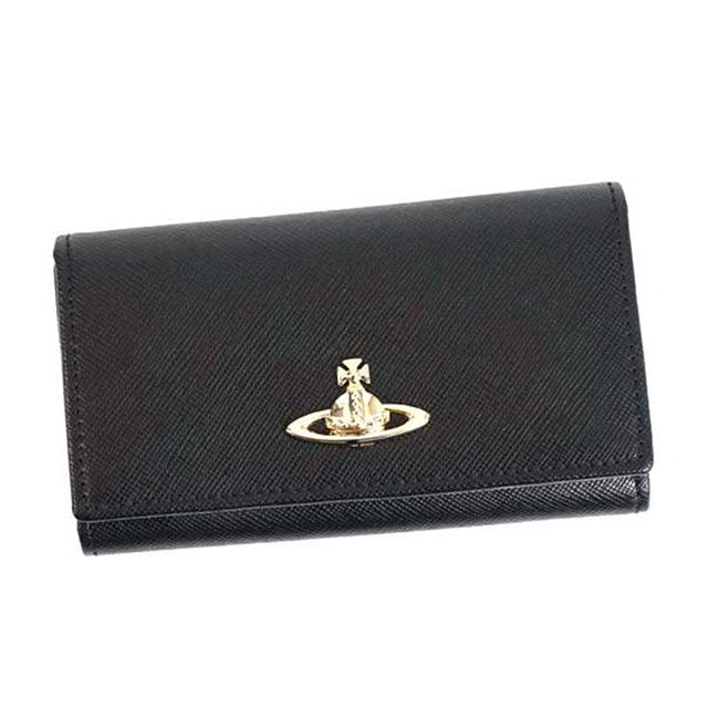 Vivienne Westwood キーケース 6連キーケース ヴィヴィアン ウエストウッド 321283 OPIO SAFFIANO サフィアーノ 革 BLACK ブラック ゴールド メンズ レディース 誕生日プレゼント ギフト