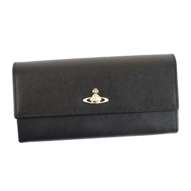 ヴィヴィアンウエストウッド 財布 Vivienne Westwood 321287 OPIO SAFFIANO オピオ サフィアーノ 小銭入れ付き フラップ長財布 BLACK ブラック