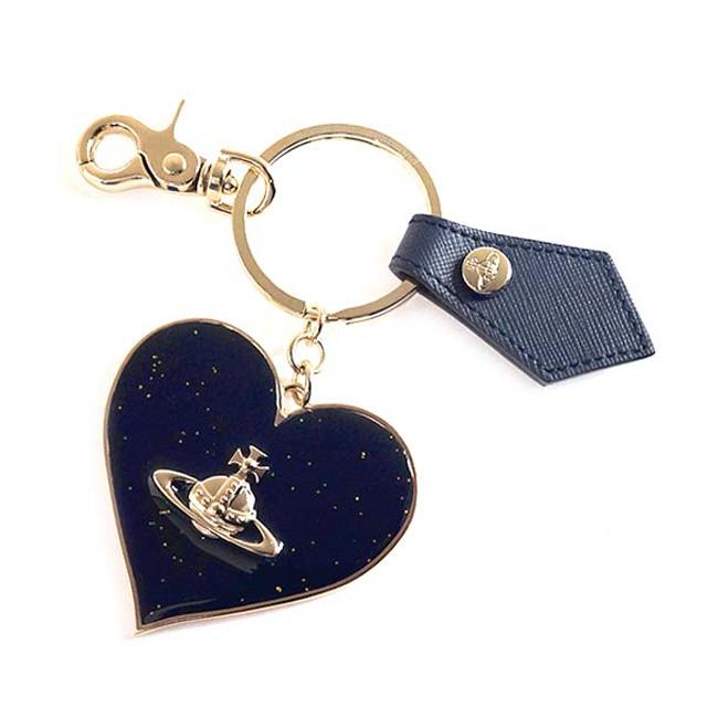 ヴィヴィアンウエストウッド キーリング Vivienne Westwood 321489 MIRROR HEART GADGET ミラーハート ガジェット キーホルダー ラメ BLUE ネイビー系ブルー+ラメ