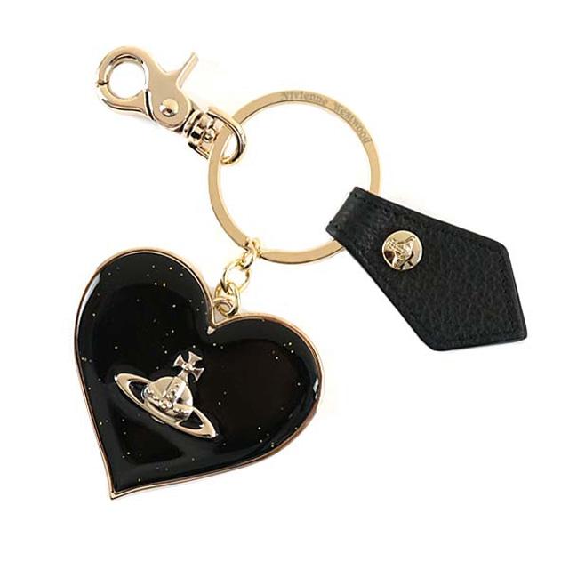 ヴィヴィアンウエストウッド キーリング Vivienne Westwood 321565 MIRROR HEART GADGET ミラーハート ガジェット キーホルダー ラメ BLACK ブラック+ラメ