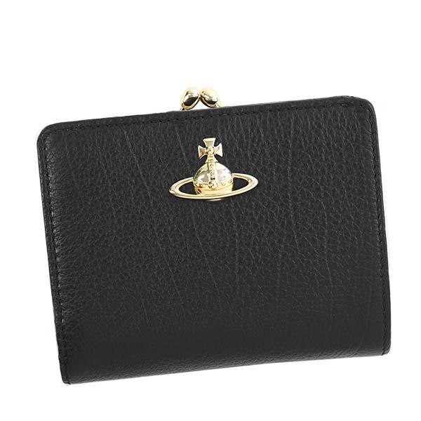 ヴィヴィアンウエストウッド Vivienne Westwood 51010020 BALMORAL バルモラル 二つ折り財布 がま口式小銭入れ BLACK ブラック