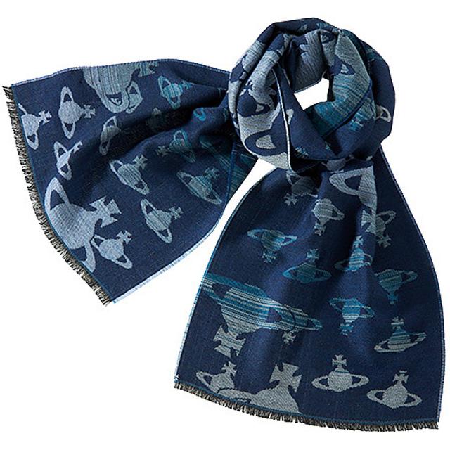 ヴィヴィアンウエストウッド Vivienne Westwood ORB メンズマフラー ブルー+オーブ柄ブルー系グラデーション 青