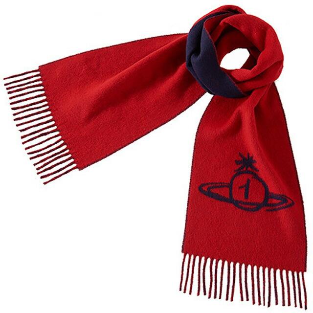 ヴィヴィアンウエストウッド Vivienne Westwood ORB1 バイカラー メンズマフラー レッド+ネイビー系 赤 紺