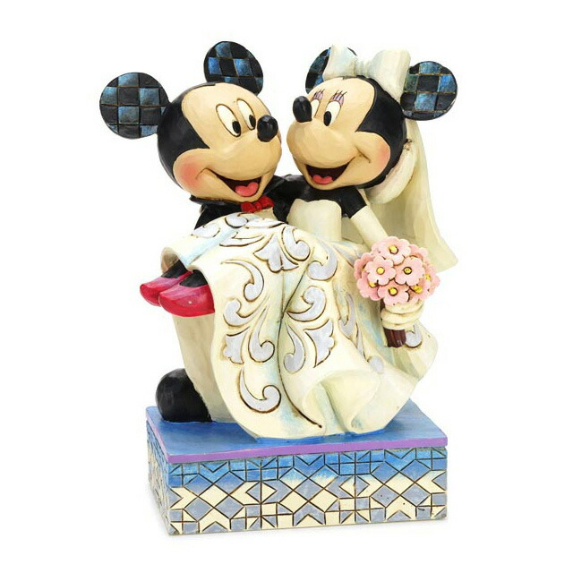 Disney Tradition Traditions Mickey Mouse And Minnie Wedding Carved Wood Style Figure Gift