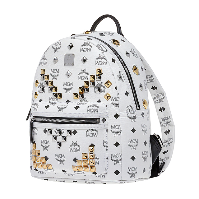 MCM backpack Korea s size mini studded white mens ladies bag MCM elegante  MMK5SVE19 BP WT
