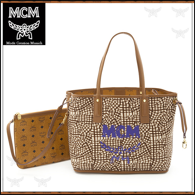 M Cm Bag Mcm Tote 2way Shoulder Cowhide Cognac