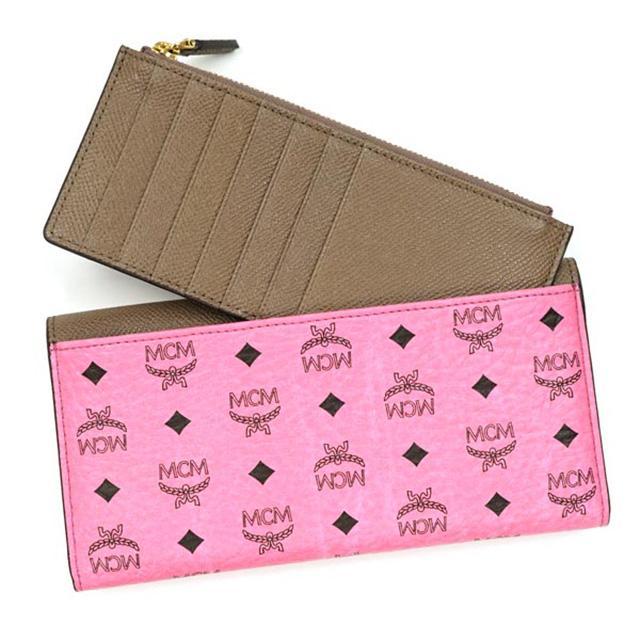 MCM MCM elegante purse Womens pink long wallet Korea coin purse coin purse  card brand leather