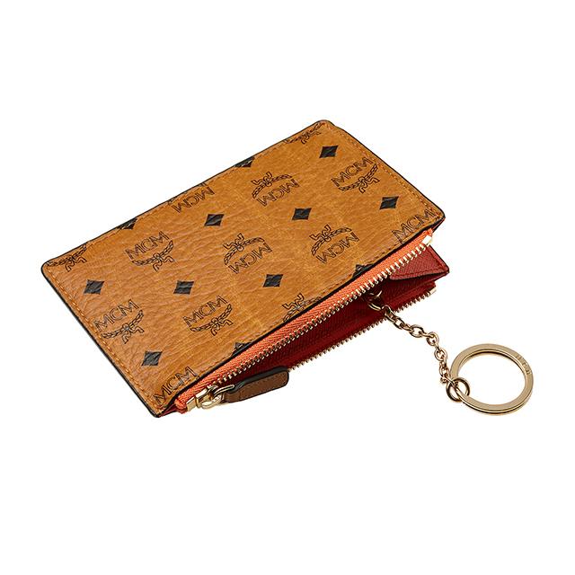 MCM MCM 喽把男装硬币钱包硬币女士卡皮革品牌钥匙链钥匙圈与关键案例皮革真正韩国 MYZ5SVC06 CO001 棕色骆驼谭科涅克白兰地品牌新品牌流行新生日礼物圣诞节