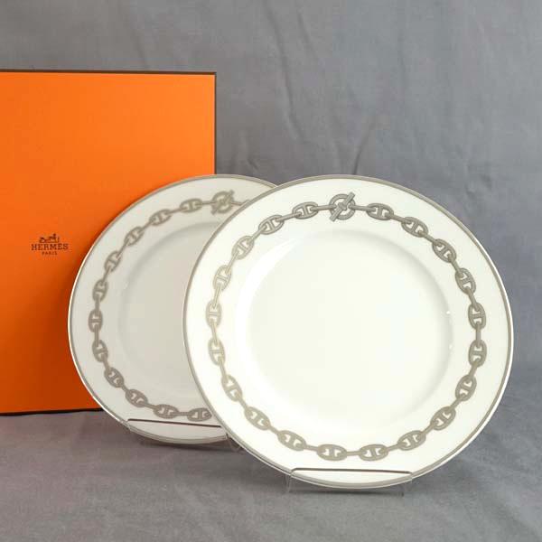 Hermes HERMES plate 04107P Chaine Dancre Platine Chêne dangle Platinum  (anchor chain / chain pattern) dessert plates, pair