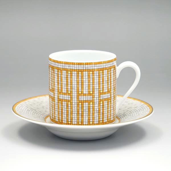 에르메스 HERMES 컵 및 접시 026017P Mosaique Au 24 모자이크 ヴァンキャトル 커피잔 쌍 옐로우 골드