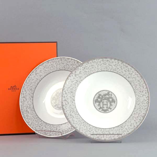 エルメス HERMES プレート 035013P Mosaique Au 24 Platinum モザイク・ヴァンキャトル プラチナ スーププレート ペア