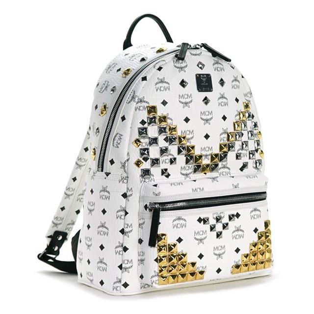 MCM MCM elegante Luc backpack studs Korea genuine white men's women's  fashion brand commuter school bag new daypack unisex stark back pack medium  /STARK ...