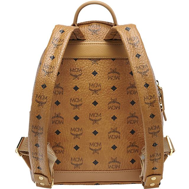 MCM MCM elegante Luc backpack studs daypack Korea regular Cognac ladies men's brand leather mini shoulder unisex commuter school bag fashionable new