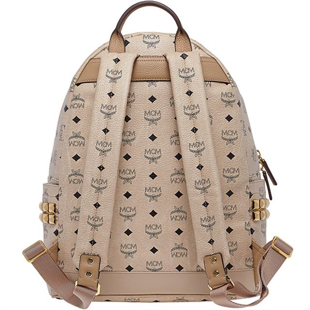 Mcm Elegante Backpack Rucksack Studded With Gilded Studs Genuine Beige Real Daypack Korea Las Men S Brand Leather New Uni Commuter