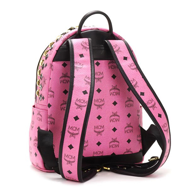 MCM 엠 シーエム 가방 미니 백 가방 작은 핑크 스 탓 즈 スタッズパネル 정품 백팩 배낭 대한민국 정품 여성용 브랜드 신품 통근 가방 생일 크리스마스 선물 선물 축제 여자 STARK BROCK BACKPACK-SML