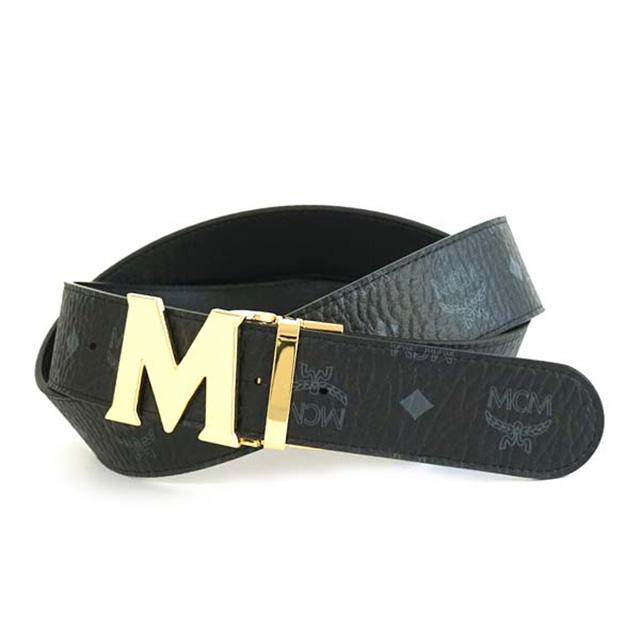 MCM エムシーエム ベルト MXB4AVI92 VISETOS ROUND BELT REVERSIBLE BELT ゴールドMバックル ヴィセトス ラウンド リバーシブルベルト ブラック BLACK 黒