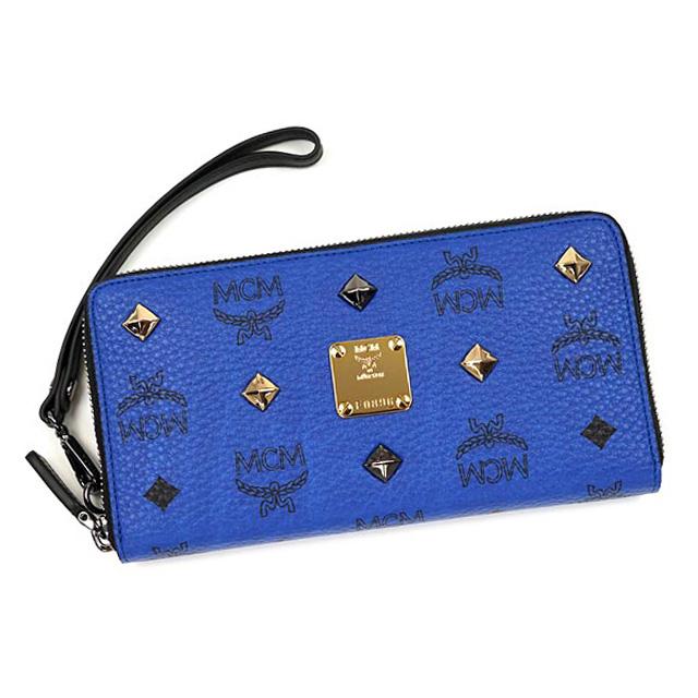 low priced fc8fd 6cd3f MCM MCM elegante purse wallet large zip around genuine studs Korea real  ladies men's brand leather hand strap with new mazarine blue + black
