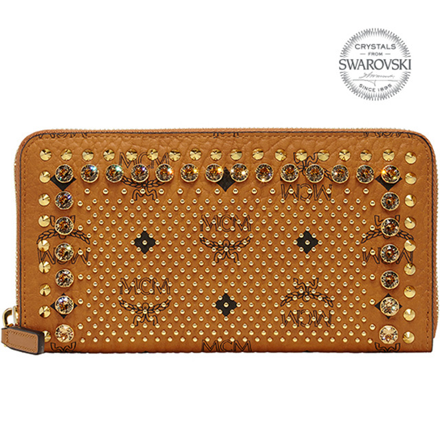 MCM MCM elegante long wallet zip Cognac camel Brown studded Swarovski  leather tea leather wallet Korea