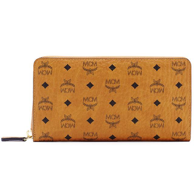 MCM MCM elegante long wallet zip Cognac camel brown leather + PVC wallet  Korea regular new