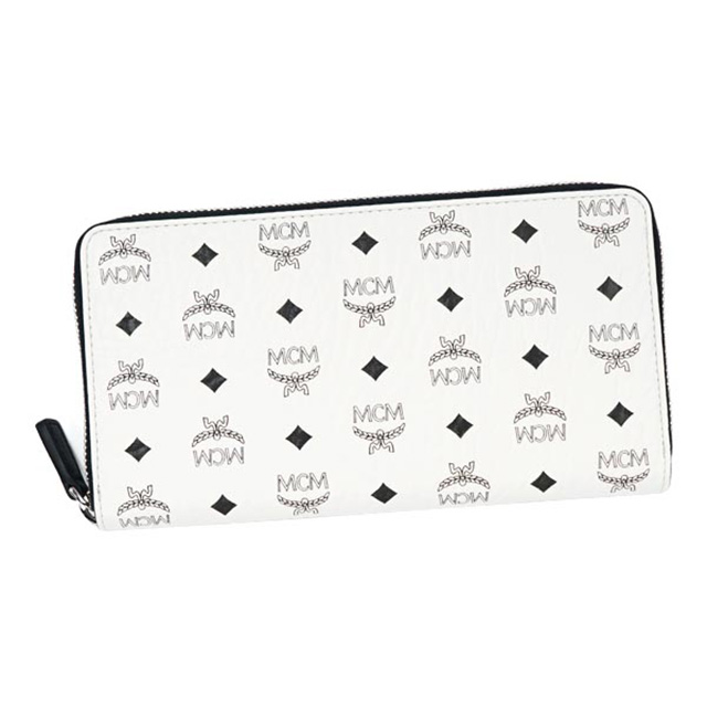 MCM MCM elegante wallet large zip around White Leather White leather wallet Korea regular new women's men's brand purse wallet women men unisex popular gift gifts birthday Valentine's day white gift Memorial Day ZIP AROUND LARGE 12 CREDIT