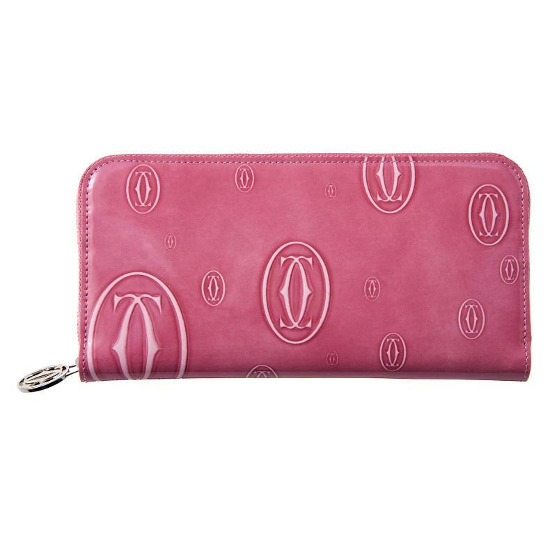 カルティエ Cartier 財布 長財布 ラウンドファスナー L3001255 zipped international wallet ハッピーバースデイ HAPPY BIRTHDAY 2C PINK ピンク シルバー