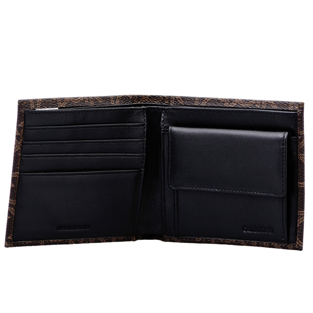 Calvin Klein Calvin Klein two bi-fold wallet CK Monogram Leather Brown of coin purse, with goods cloth Calvin tea series leather brand men's CK men new regular fashion popular presents birthday gift Valentine's day white gift career celebrate celebration