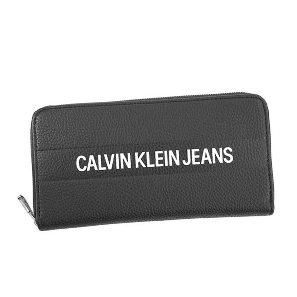 カルバンクラインジーンズ Calvin Klein Jeans CK 財布 K40K400840 LOGO BANNER LARGE ZIPAROUND ロゴ バナー ラージ ジップラウンド 小銭入れ付き ラウンドファスナー長財布 001 BLACK ブラック系+ホワイト 黒
