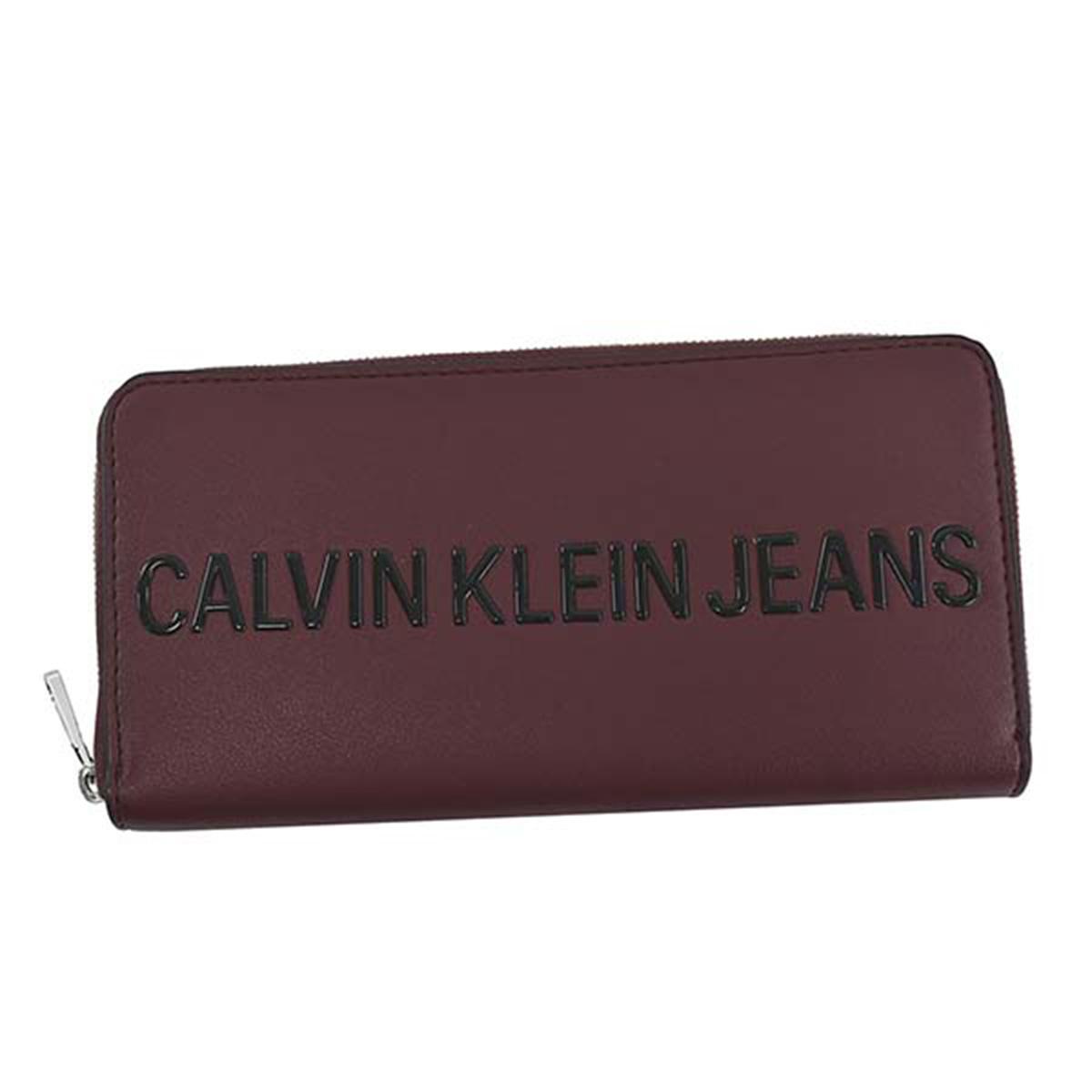 カルバンクラインジーンズ Calvin Klein Jeans CK 長財布 K60K605900 RED SCULPTED ZIP AROUND スカルプト ジップ アラウンド レッド系 ラウンドファスナー 財布