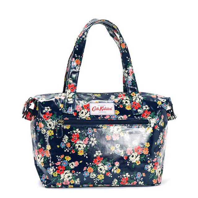 Cath kidston Cath Kidson bag handbag SMALL ZIPPED HANDBAG CLIFTON ROSE floral design MIDNIGHT BLUE Midnight Blue women's brand white birthday Christmas gift ...