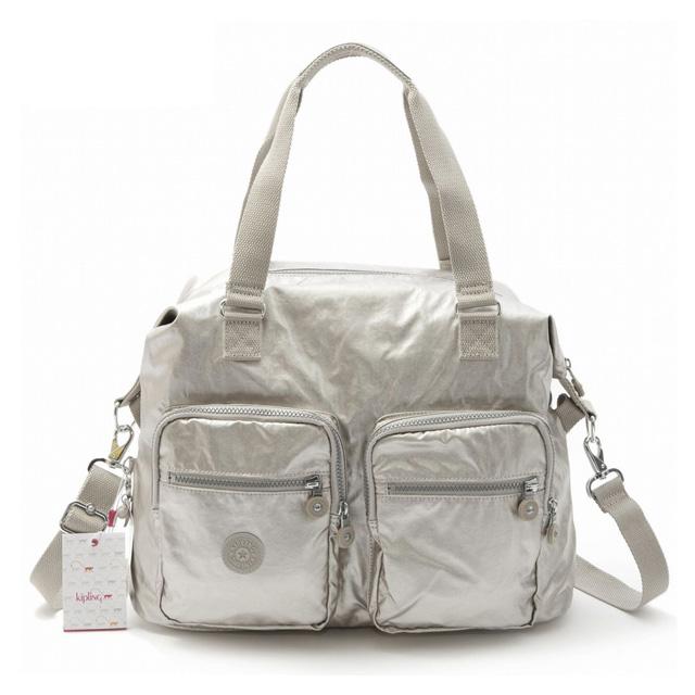 Kipling 2way Shoulder Bag Las Angled Shade Nylon Boston Lightweight Tote Handbag K12390 02r Erasto N Silver Beige A3