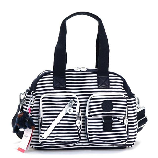Kipling Handbags Boston Women S Shoulder Bag Also 2 Way Nylon Navy System White Striped Lightweight Monkey Charm Commuter School New Defea