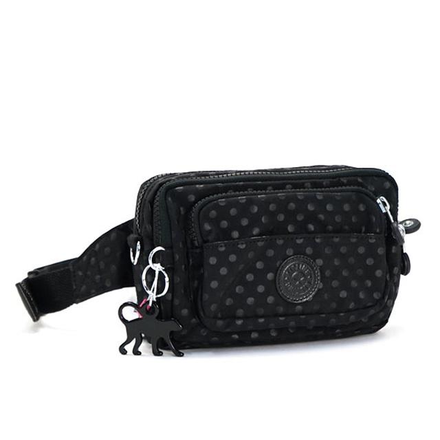 Kipling Waist Bag 2 Way Shoulder Black Pochette Lightweight Also Light Nylon Women S New Multiple Belts B Bk Dot Emb