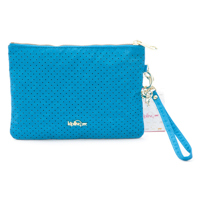 Clutch porch cosmetics porch makeup make pen case AGUA PERFO blue system  pin dot with キプリングバッグ KIPLING K15825 50R JAIMIE SS strap