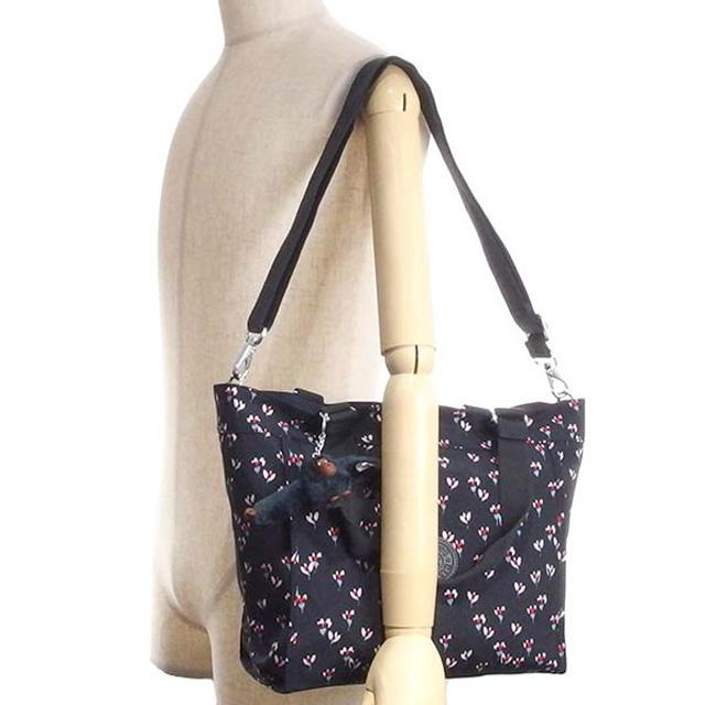 532565f93d キプリング Kipling bag K16640 60M NEW SHOPPER S 2way shoulder tote bag NV Small  flower SMALL FLOWER navy + flower pattern