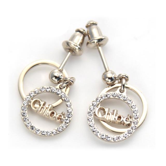 Chloe Pierced Earrings Pority Brand New Work Stud Bolt Logo Gold Crystal 2e0370 Ao2 093