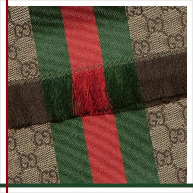 f67e494c725 Gucci GUCCI scarf mens brand ladies scarf Brown × green winter Eagle 147351  sale brand new unused
