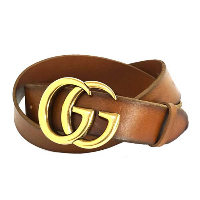 b0b4ca51d1364 Gucci GUCCI 406831 CVE0T2535 leather belt double G buckle brown + gold belt  men s fashion business presents buckle real leather brand Golf men s  leather ...