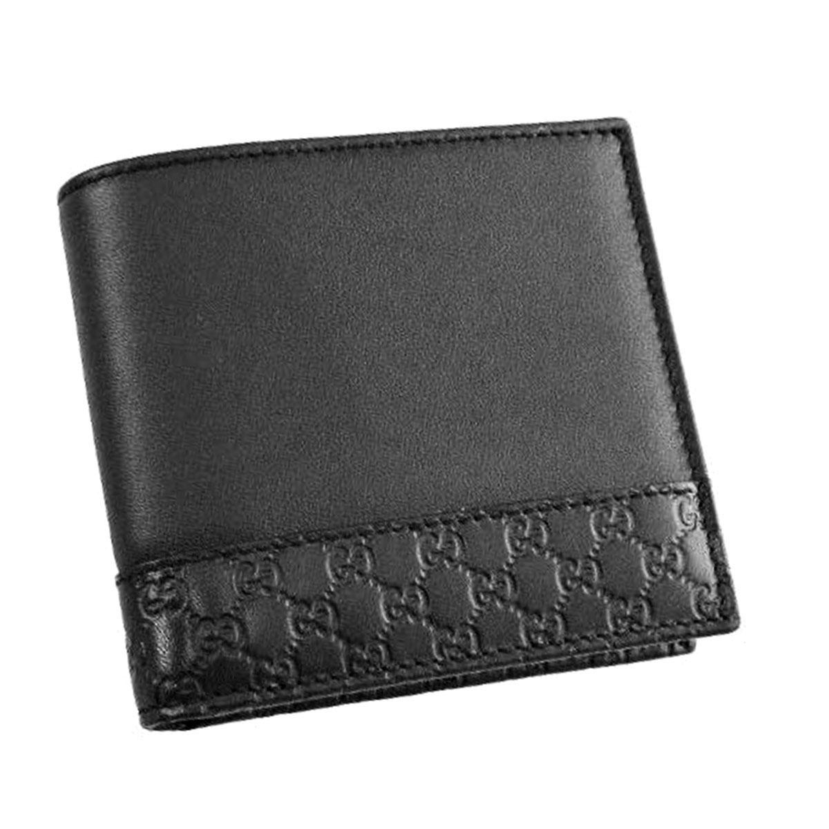 グッチ GUCCI 財布 256418 A8WQN 1000 グッチ シグネチャー レザー 小銭入れ付き 二つ折り財布 ブラック