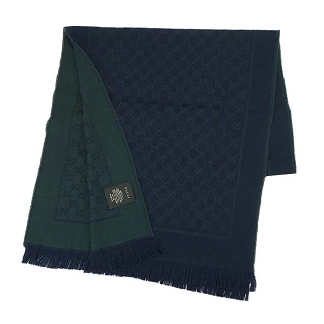 60e0f26ba4c4a Gucci GUCCI 473553 4G200 4066 GG double jacquard wool scarf reversible scarf  midnight blue   green dark blue green