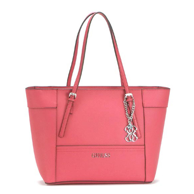 Brand New Guess Handbag Shoulder Bag Tote Charms Shawl Embossing Leather Pink Bags